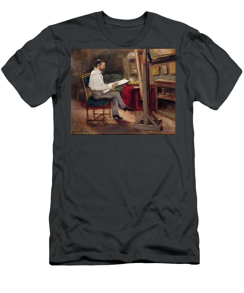 Man Men's T-Shirt (Athletic Fit) featuring the painting The Artist Morot In His Studio by Gustave Caillebotte