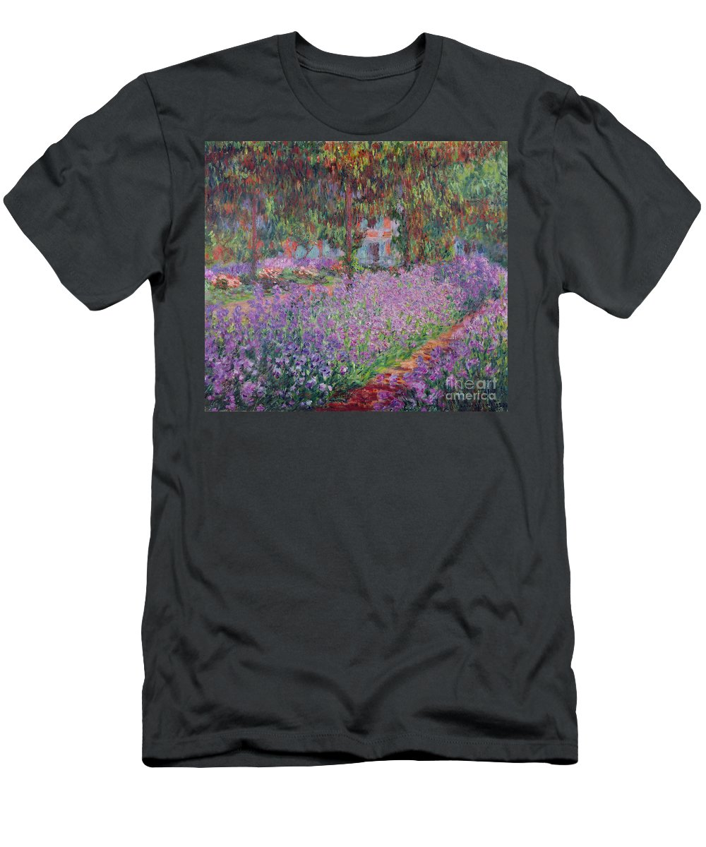 The Men's T-Shirt (Athletic Fit) featuring the painting The Artists Garden At Giverny by Claude Monet