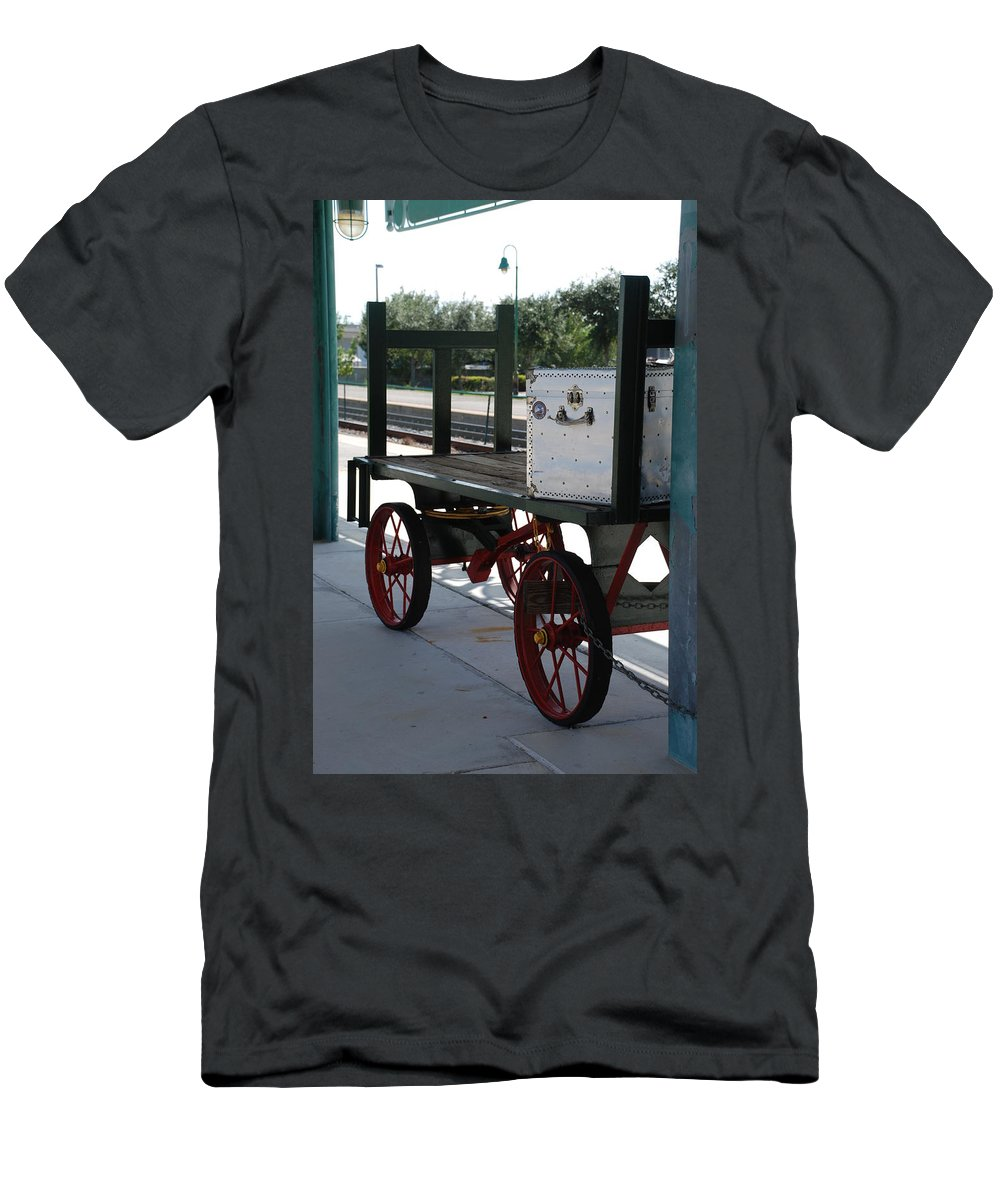 Train Station Men's T-Shirt (Athletic Fit) featuring the photograph The Baggage Cart And Truck by Rob Hans