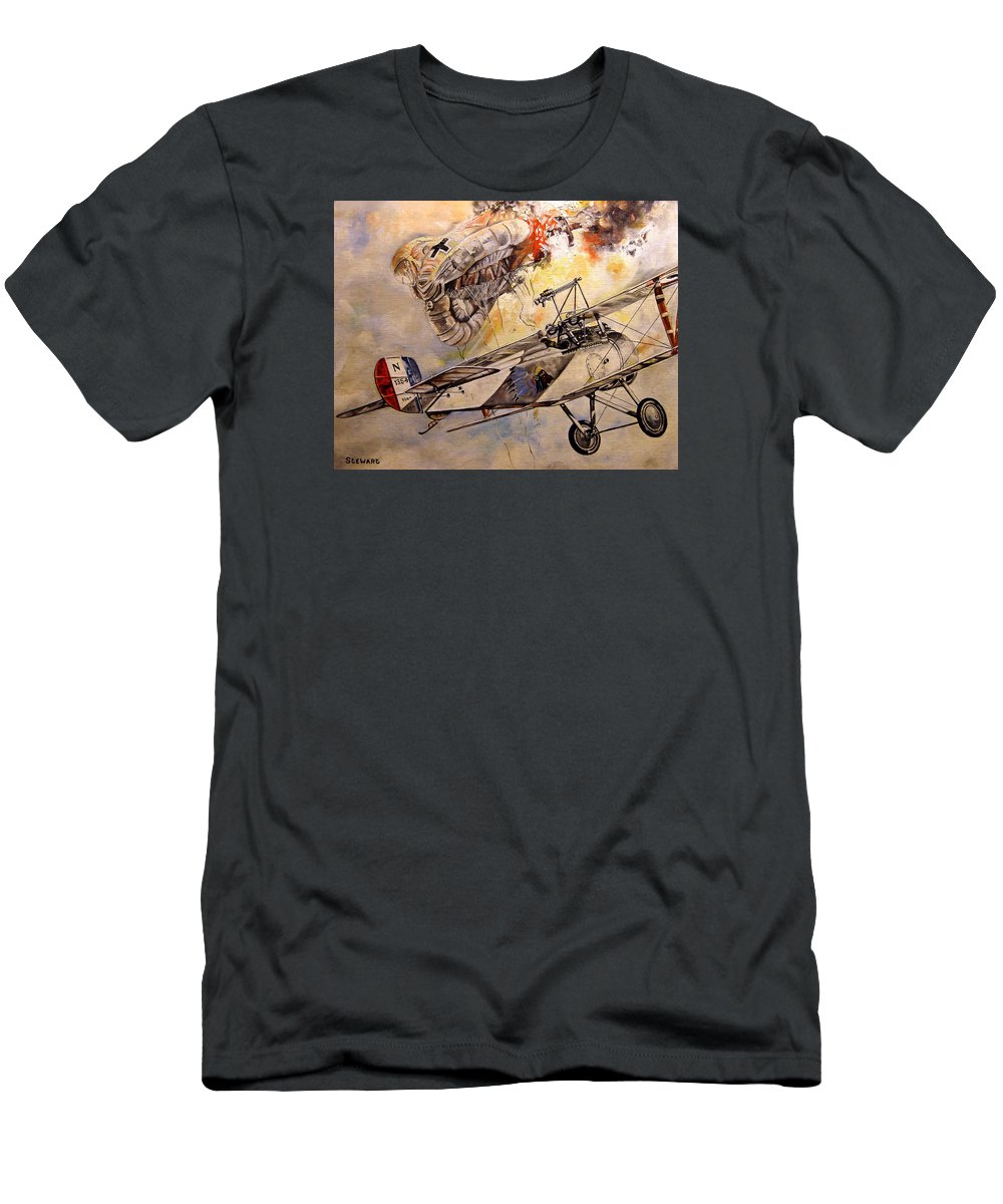Military T-Shirt featuring the painting The Balloon Buster by Marc Stewart