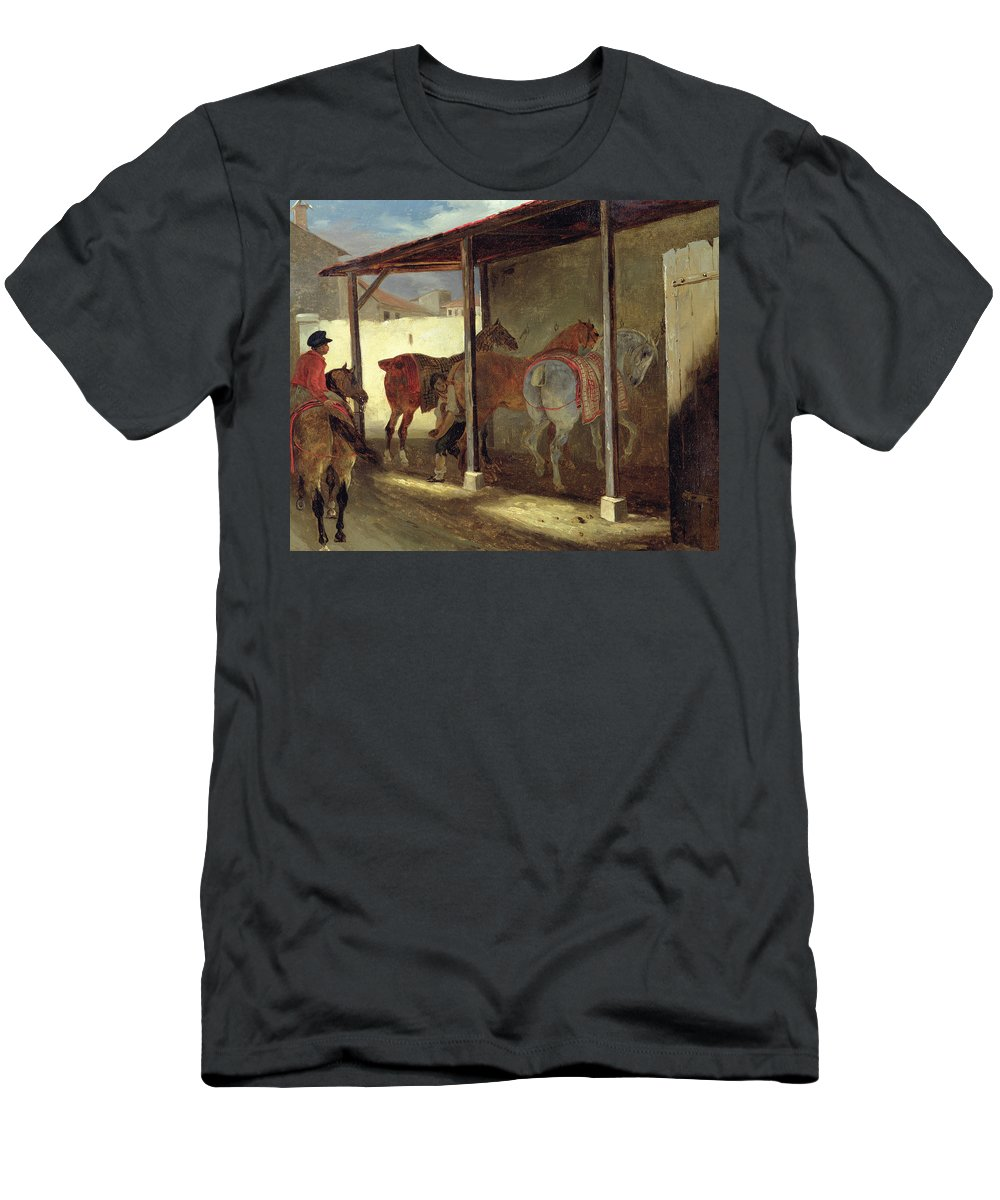The Men's T-Shirt (Athletic Fit) featuring the painting The Barn Of Marechal-ferrant by Theodore Gericault