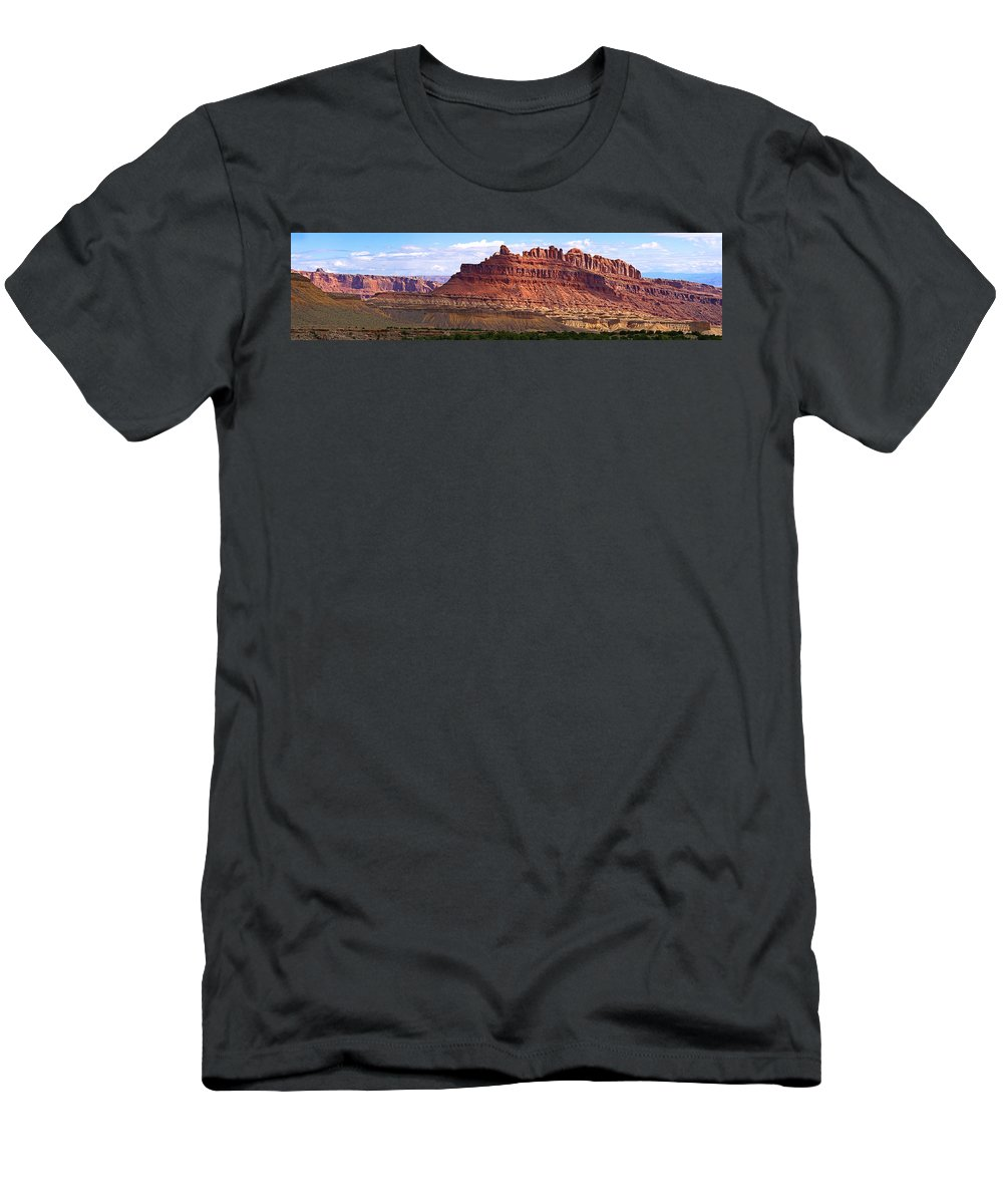 Landscape Utah Men's T-Shirt (Athletic Fit) featuring the photograph The Battleship Utah by Heather Coen