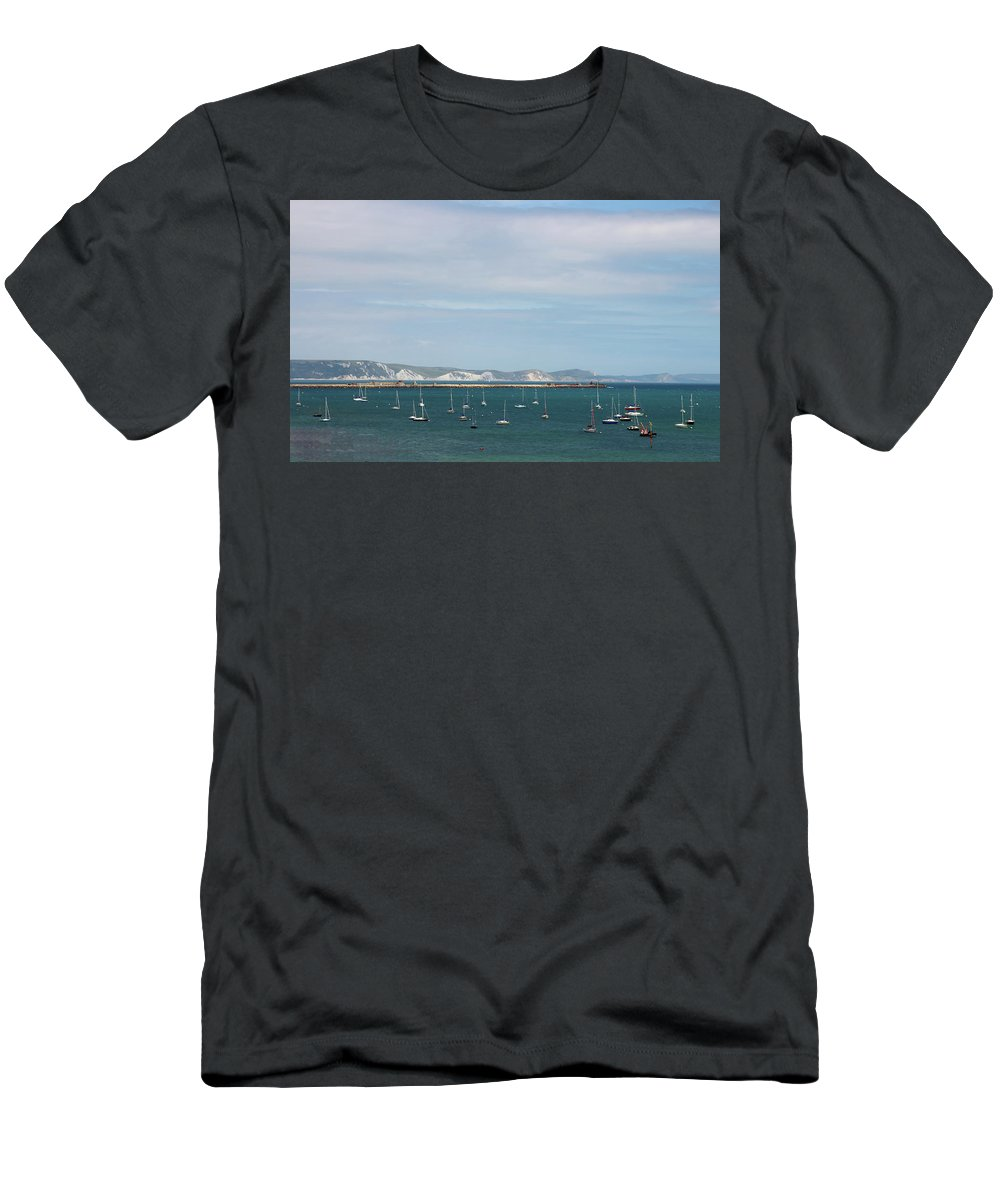 Boats Men's T-Shirt (Athletic Fit) featuring the photograph The Bay At Weymouth by Jeff Townsend