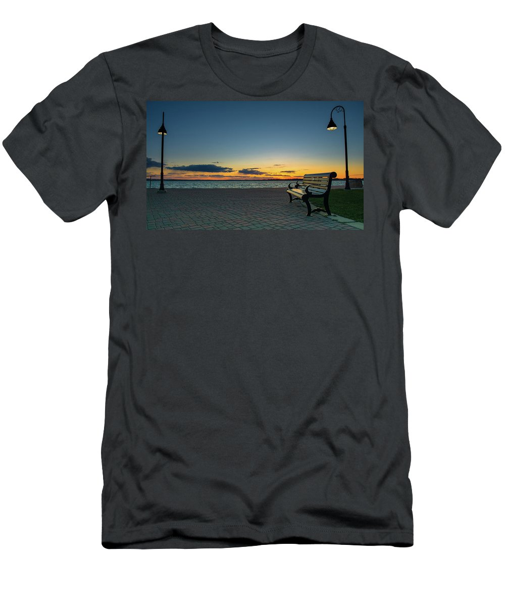 #nature #green #sky #sun #summer #beach #beautiful #pretty #sunset #sunrise #blue #flowers #night #tree #twilight #clouds #beauty #light #photooftheday #beach #mountain #love #dusk #weather #day #red #rivers #mothernature Men's T-Shirt (Athletic Fit) featuring the photograph The Bench by Bob White