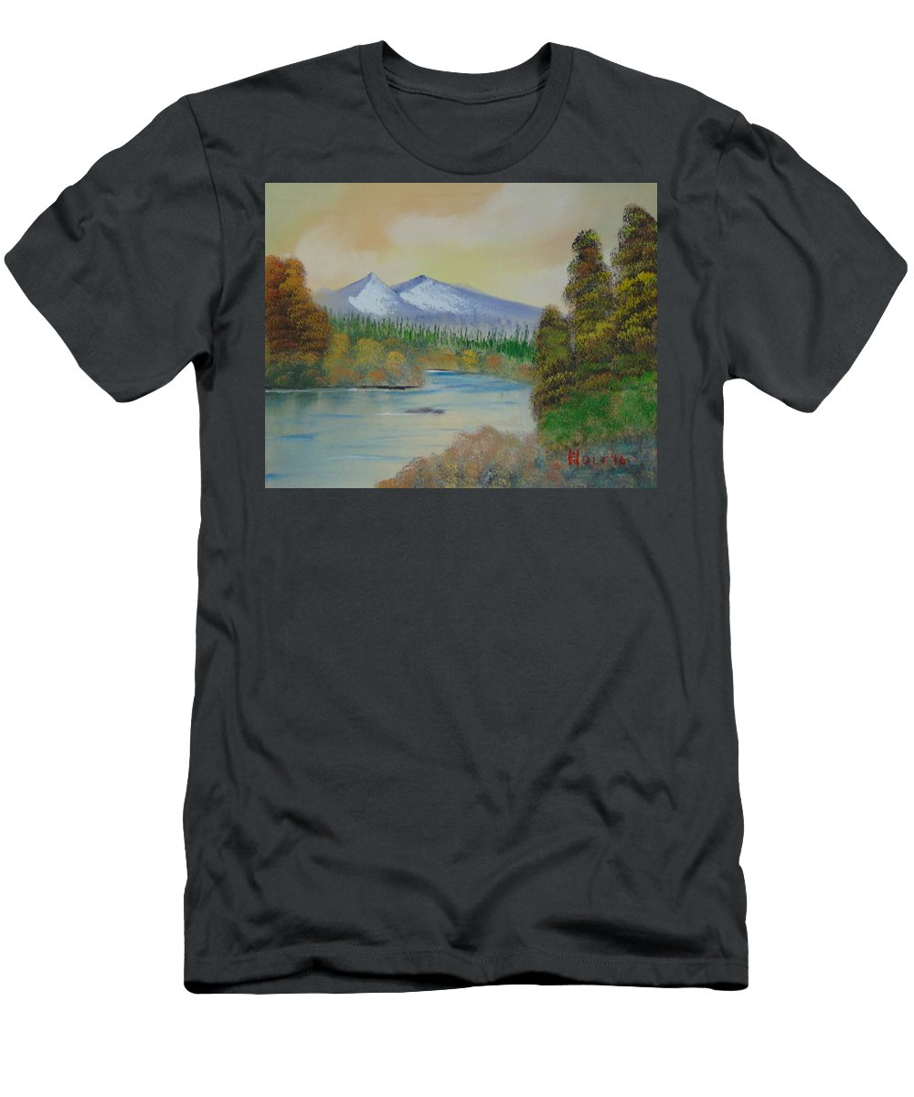 Bob Ross Style Men's T-Shirt (Athletic Fit) featuring the painting The Bend In The River by Alan K Holt