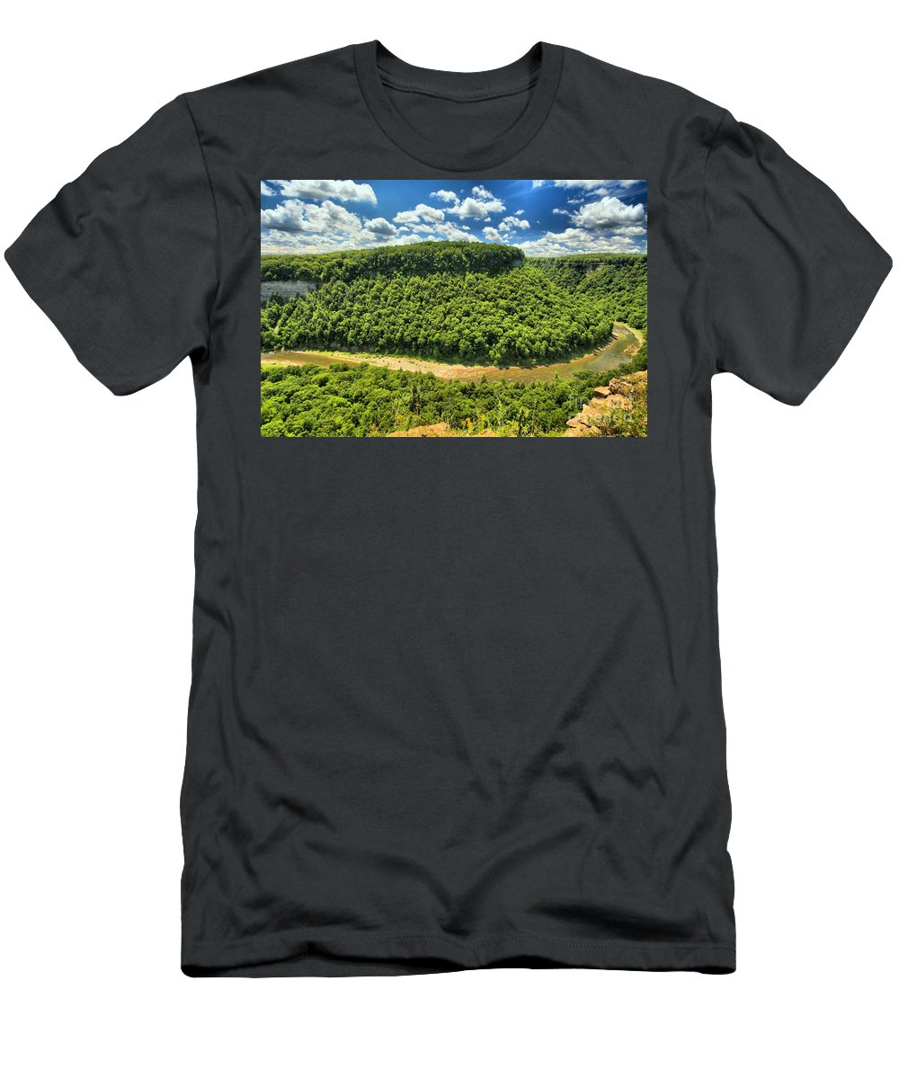 Letchworth State Park Men's T-Shirt (Athletic Fit) featuring the photograph The Big Bend by Adam Jewell