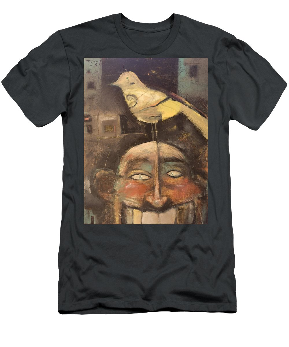 Bird Men's T-Shirt (Athletic Fit) featuring the painting The Birdman Of Alcatraz by Tim Nyberg