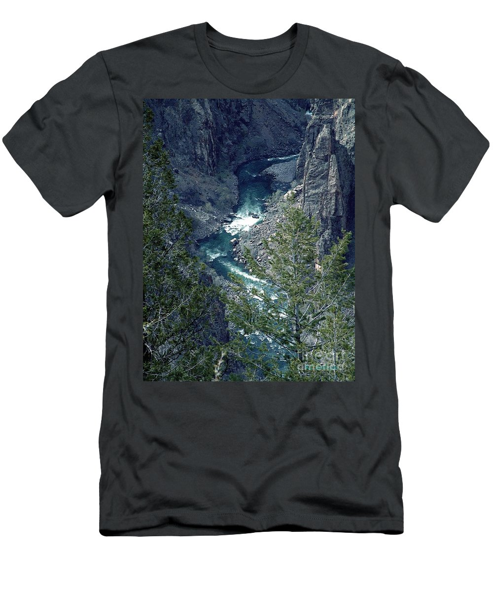 Canyon Men's T-Shirt (Athletic Fit) featuring the painting The Black Canyon Of The Gunnison by RC DeWinter