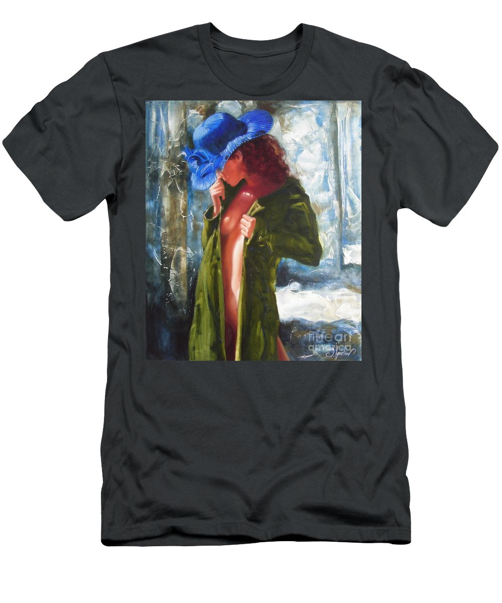 Art T-Shirt featuring the painting The blue hat by Sergey Ignatenko