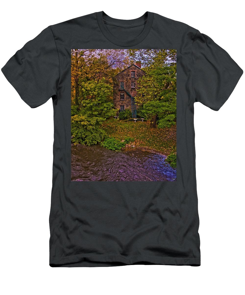 Mill Men's T-Shirt (Athletic Fit) featuring the photograph The Bronx River Stone Mill by Chris Lord