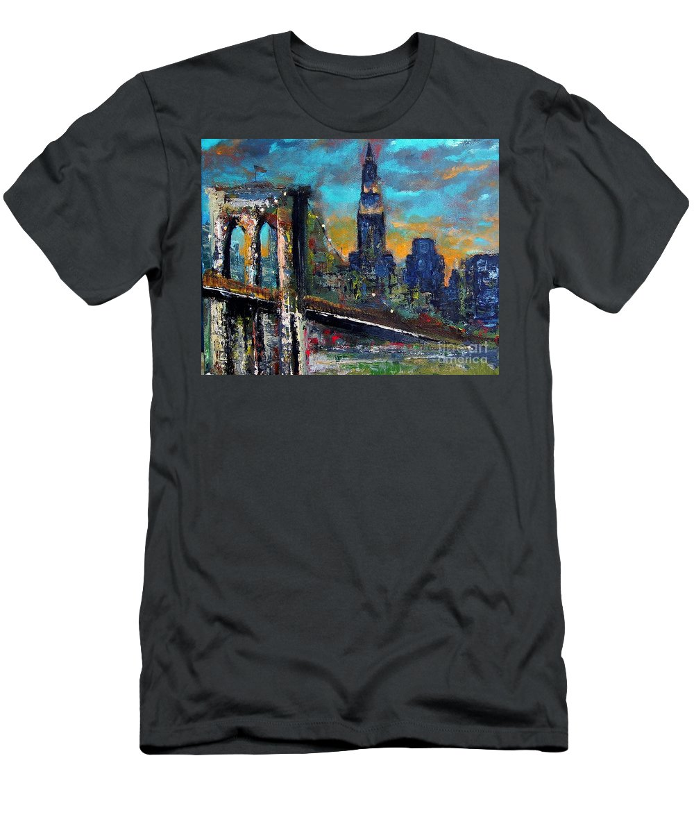Bridges Men's T-Shirt (Athletic Fit) featuring the painting The Brooklyn Bridge by Frances Marino