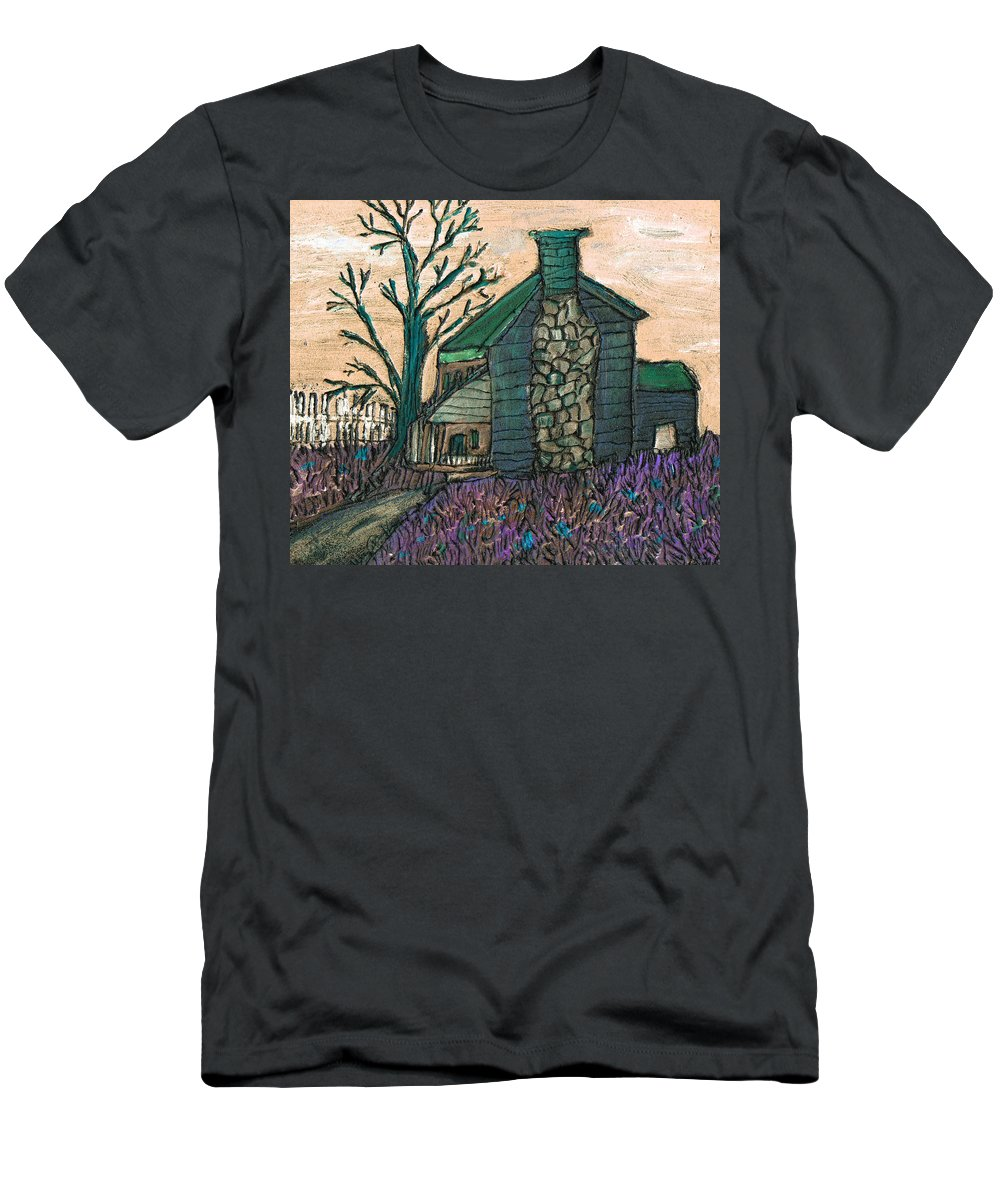 Cabin Men's T-Shirt (Athletic Fit) featuring the painting The Cabin 2 by Wayne Potrafka