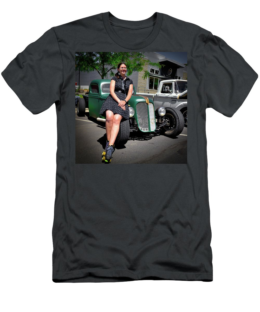 The Car Hop And The Street Rod Men's T-Shirt (Athletic Fit) featuring the photograph The Car Hop And The Street Rod by David Patterson
