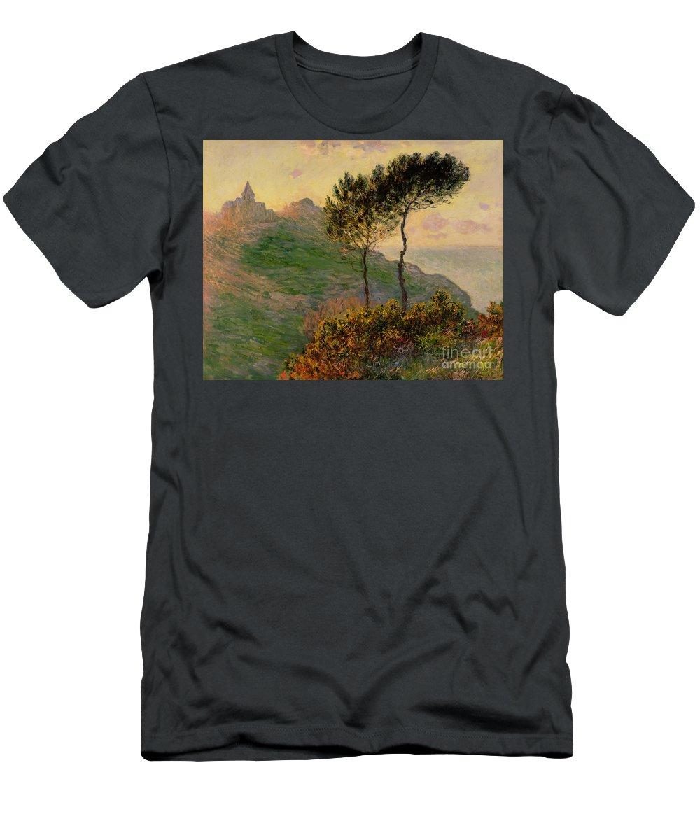 The Church At Varengeville Men's T-Shirt (Athletic Fit) featuring the painting The Church At Varengeville Against The Sunlight by Claude Monet