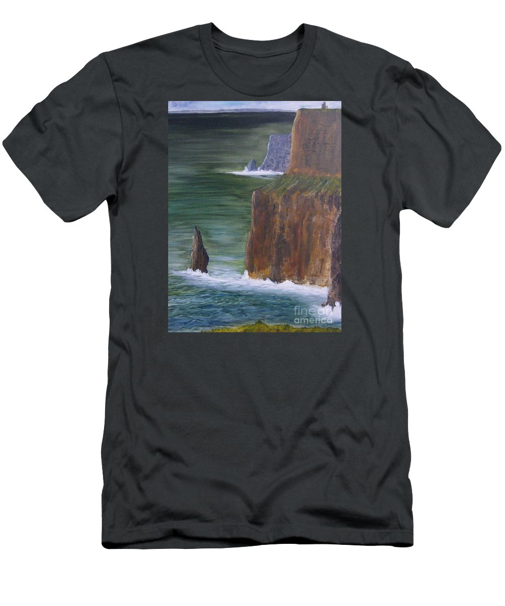 Cliffs Of Moher Men's T-Shirt (Athletic Fit) featuring the painting The Cliffs Of Moher by Chris Murray