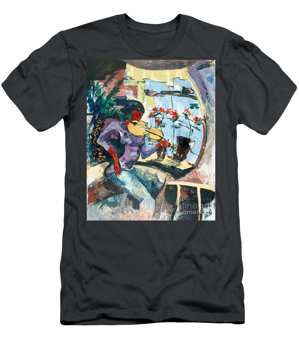 Music Men's T-Shirt (Athletic Fit) featuring the painting The Color Of Music by Elisabeta Hermann