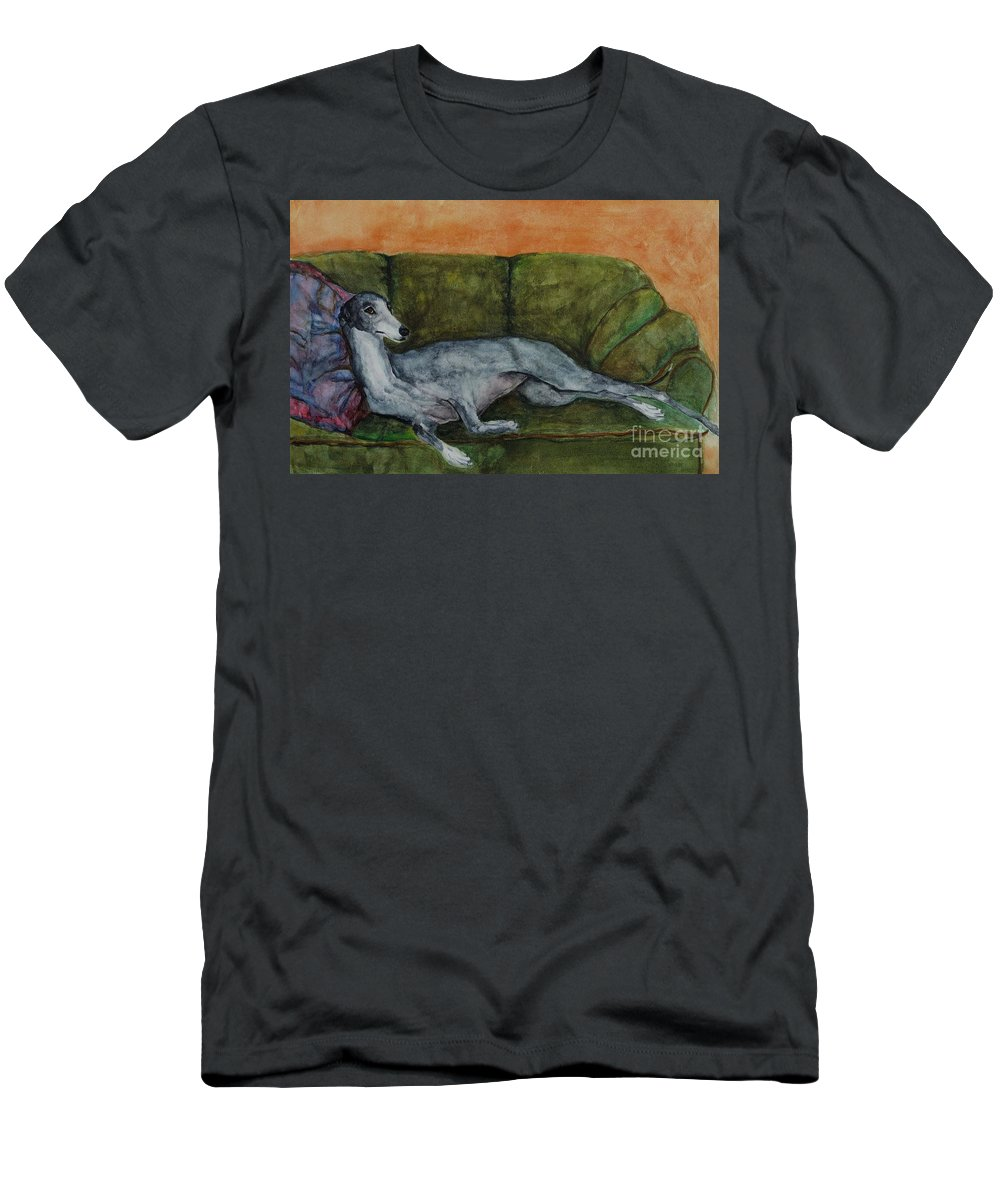 Greyhounds Men's T-Shirt (Athletic Fit) featuring the painting The Couch Potatoe by Frances Marino