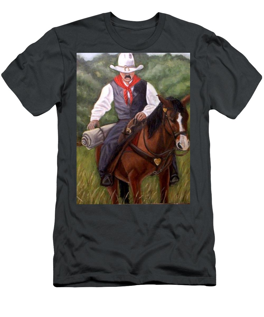 Portrait Men's T-Shirt (Athletic Fit) featuring the painting The Cowboy by Toni Berry