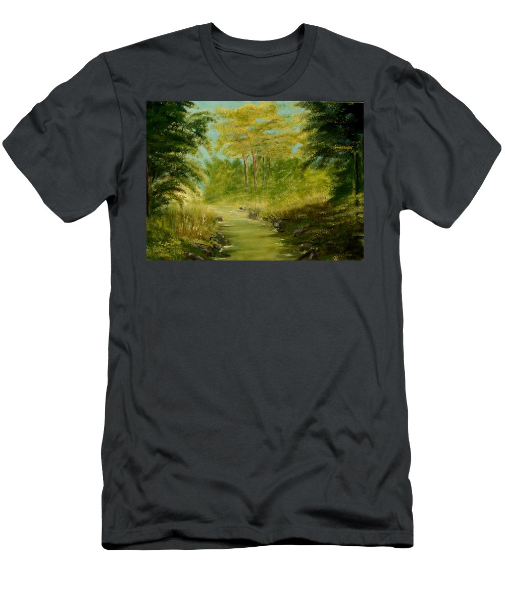 Water River Creek Nature Trees Landscape Men's T-Shirt (Athletic Fit) featuring the painting The Creek by Veronica Jackson