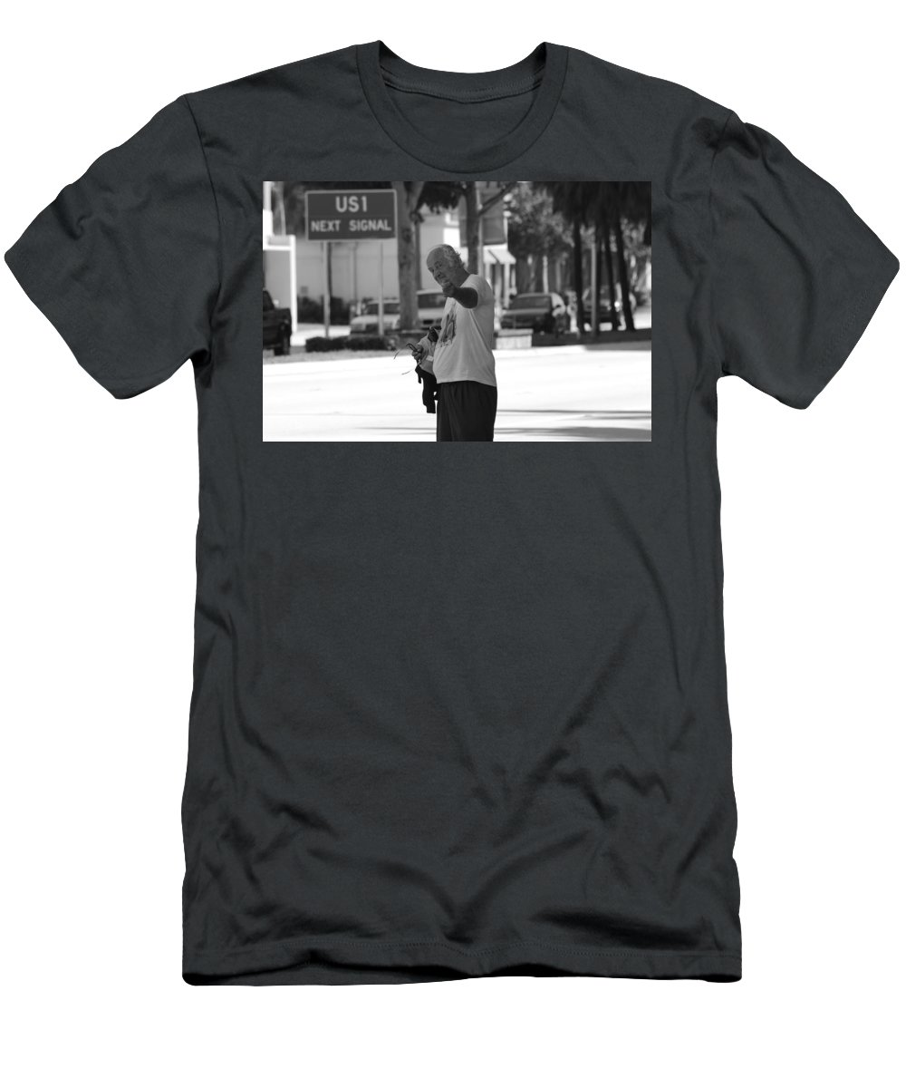 Black And White Men's T-Shirt (Athletic Fit) featuring the photograph The Devil Man by Rob Hans