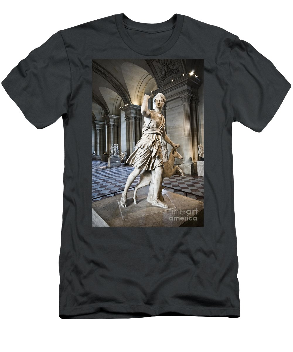 Men's T-Shirt (Athletic Fit) featuring the photograph The Diana Of Versailles In The Louvre by Charuhas Images