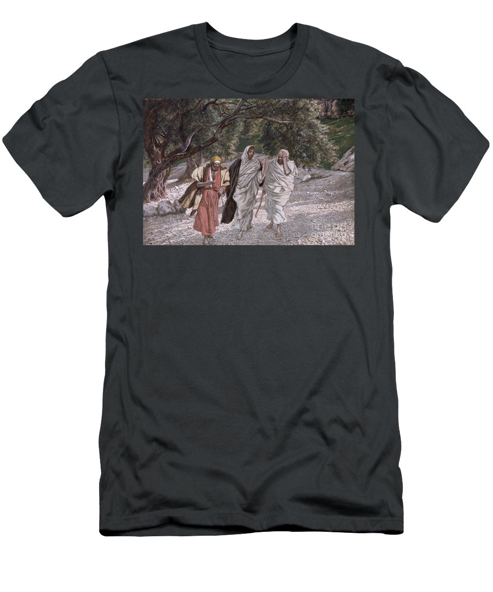 The Men's T-Shirt (Athletic Fit) featuring the painting The Disciples On The Road To Emmaus by Tissot