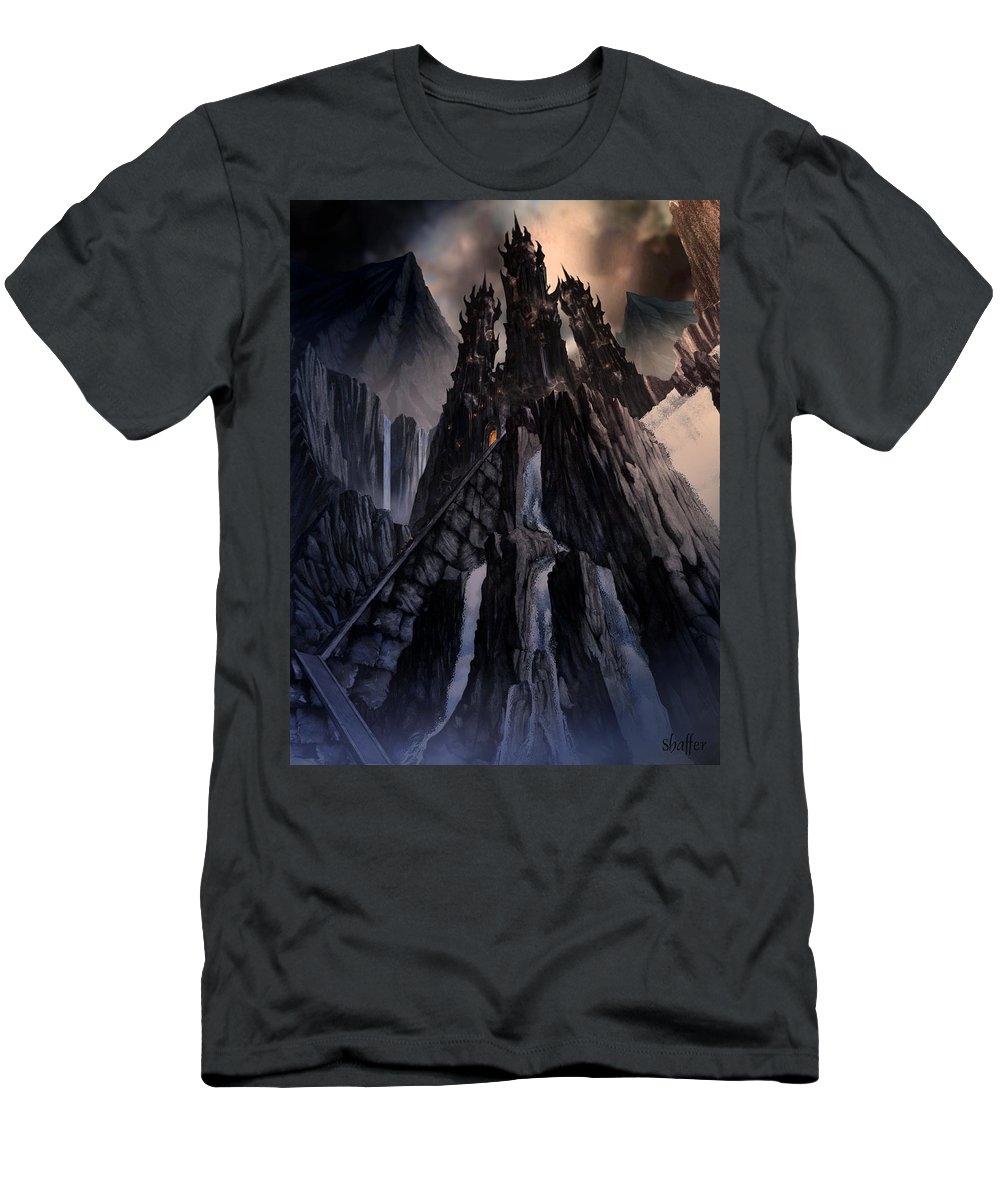 Architectural Men's T-Shirt (Athletic Fit) featuring the mixed media The Dragon Gate by Curtiss Shaffer