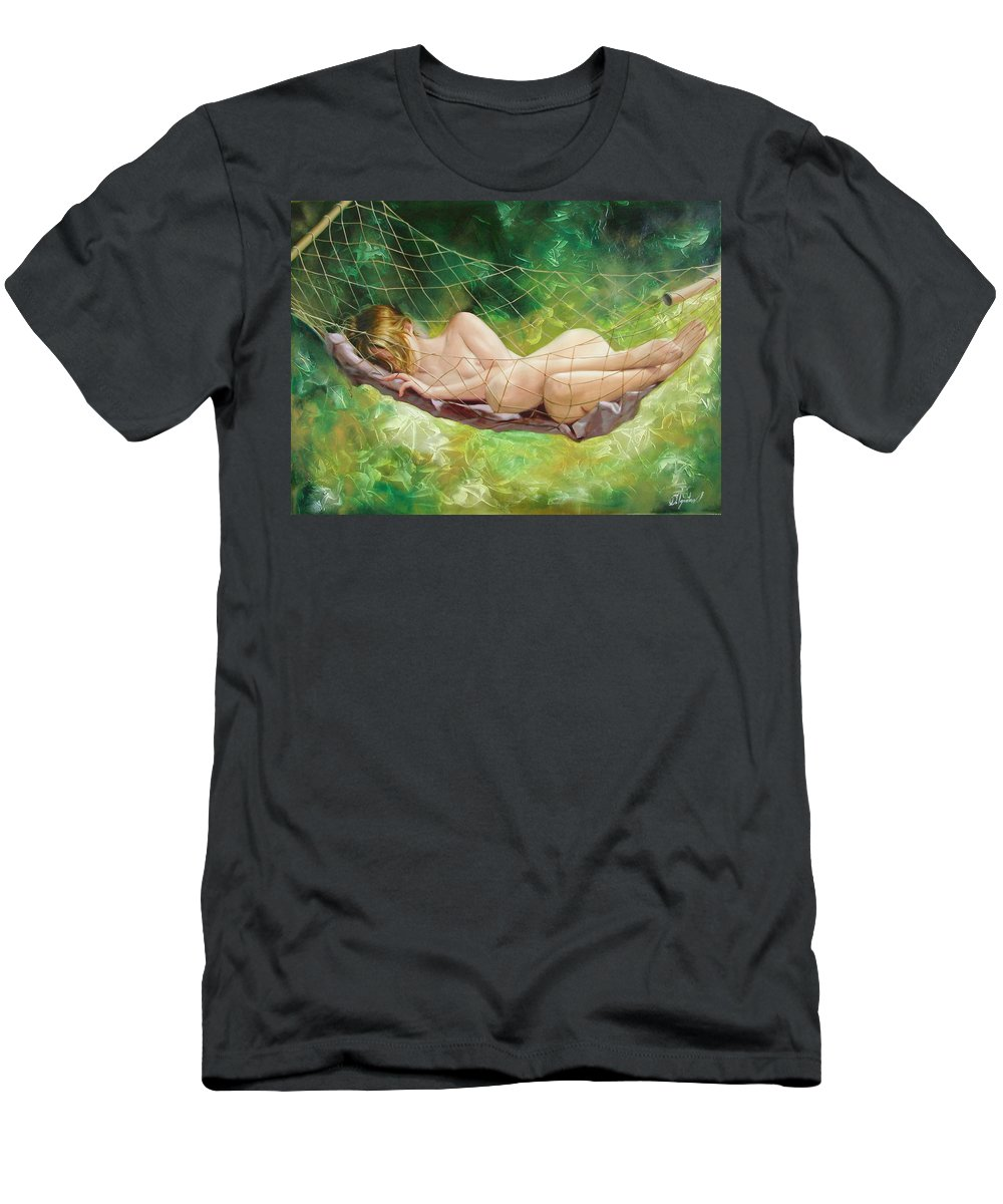 Oil Men's T-Shirt (Athletic Fit) featuring the painting The Dream In Summer Garden by Sergey Ignatenko