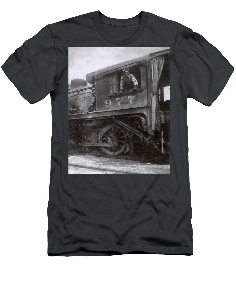 Old Photo Black And White Classic Saskatchewan Pioneers History Train Engineer Men's T-Shirt (Athletic Fit) featuring the photograph The Engineer by Andrea Lawrence