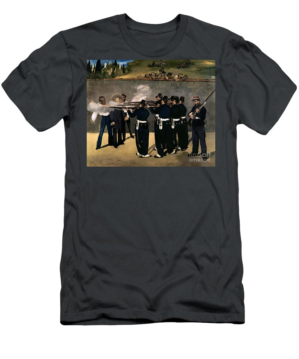 Manet Men's T-Shirt (Athletic Fit) featuring the painting The Execution Of The Emperor Maximilian by Edouard Manet
