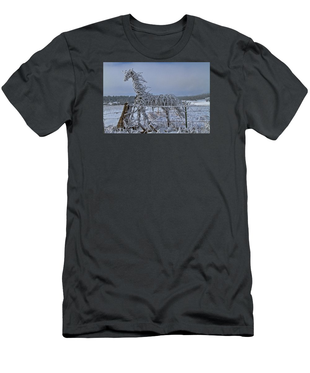 Abstract T-Shirt featuring the photograph The Fence Becomes The Horse by Alana Thrower
