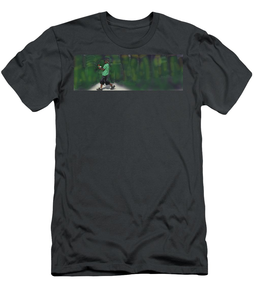 Boy Men's T-Shirt (Athletic Fit) featuring the photograph The Flag And The Rose by Ian MacDonald