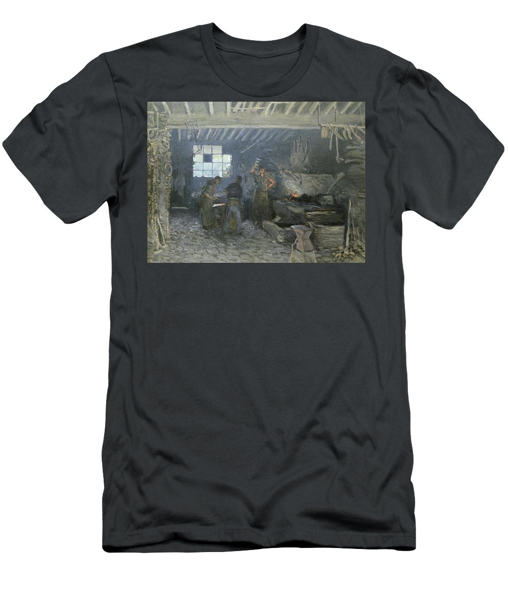The Forge At Marly-le-roi Men's T-Shirt (Athletic Fit) featuring the painting The Forge by Alfred Sisley