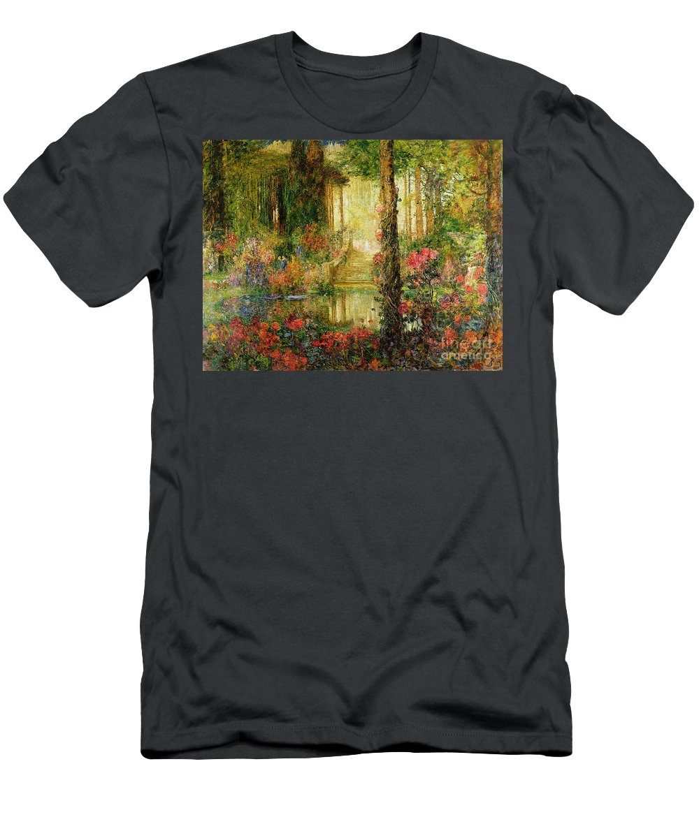 The Men's T-Shirt (Athletic Fit) featuring the painting The Garden Of Enchantment by Thomas Edwin Mostyn