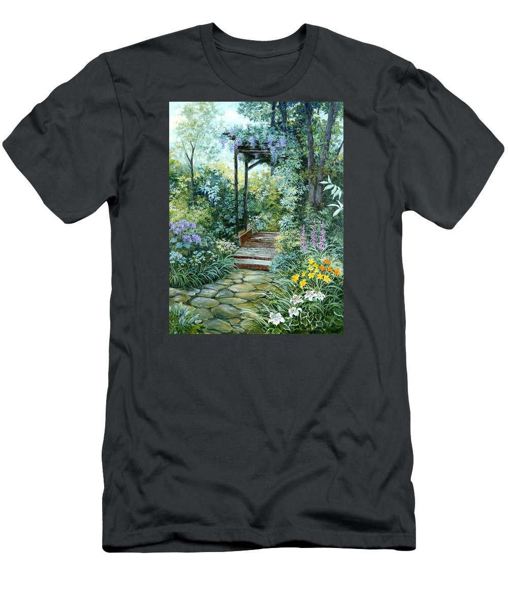 Oil Painting;wisteria;garden Path;lilies;garden;flowers;trellis;trees;stones;pergola;vines; Men's T-Shirt (Athletic Fit) featuring the painting The Garden Triptych Right Side by Lois Mountz