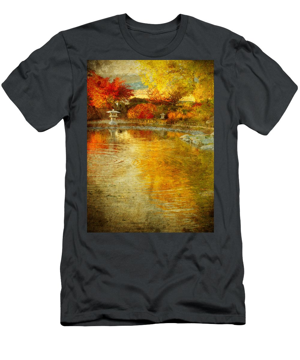 Japanese Gardens Men's T-Shirt (Athletic Fit) featuring the photograph The Golden Dreams Of Autumn by Tara Turner