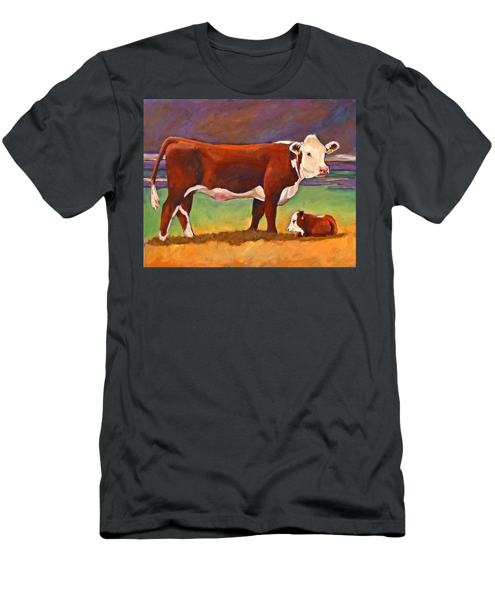 Folk Art Men's T-Shirt (Athletic Fit) featuring the painting The Good Mom Folk Art Hereford Cow And Calf by Toni Grote