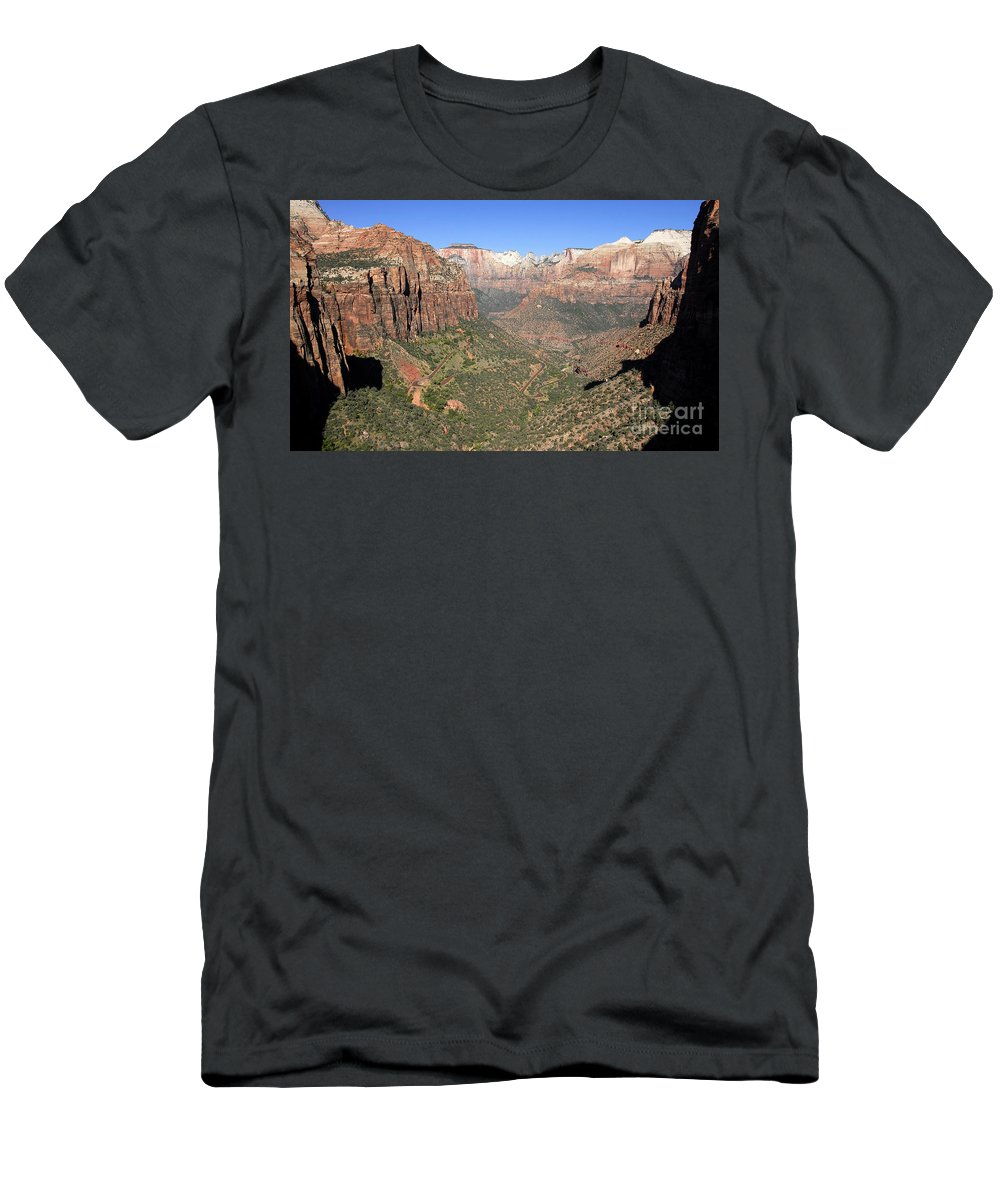 Fine Art Photography Men's T-Shirt (Athletic Fit) featuring the photograph The Great Canyon Of Zion by David Lee Thompson