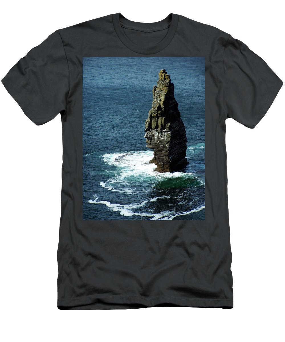 Irish Men's T-Shirt (Athletic Fit) featuring the photograph The Great Sea Stack Brananmore Cliffs Of Moher Ireland by Teresa Mucha