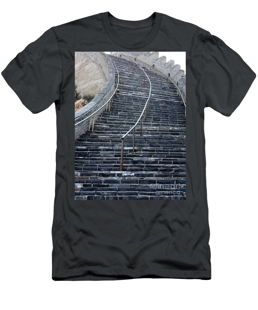 Steps Men's T-Shirt (Athletic Fit) featuring the photograph The Great Wall Steps by Carol Groenen