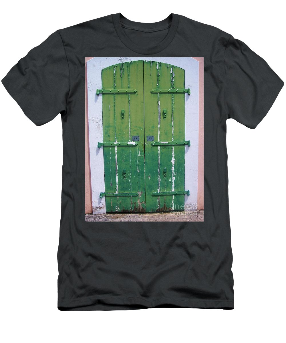 Architecture Men's T-Shirt (Athletic Fit) featuring the photograph The Green Door by Debbi Granruth