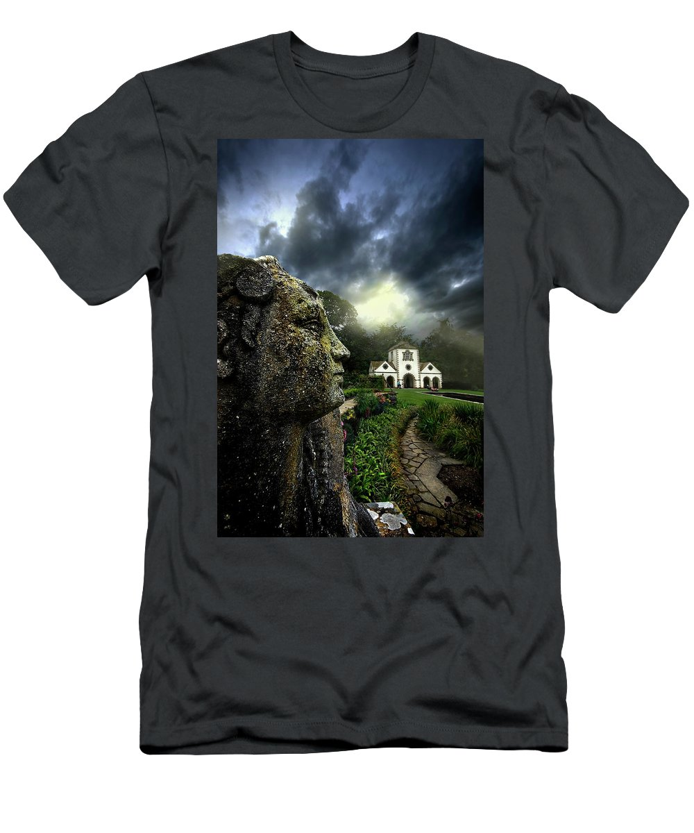 Statue Men's T-Shirt (Athletic Fit) featuring the photograph The Guardian by Meirion Matthias