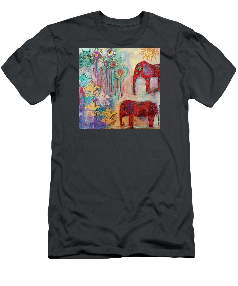 Elephants Men's T-Shirt (Athletic Fit) featuring the mixed media The Guardians Of Night And Day by Mimulux patricia No