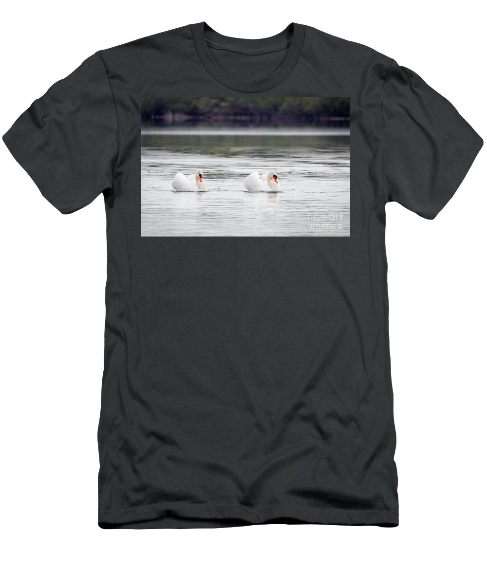 Mute Swan Men's T-Shirt (Athletic Fit) featuring the photograph The Happy Couple by Karen Jorstad