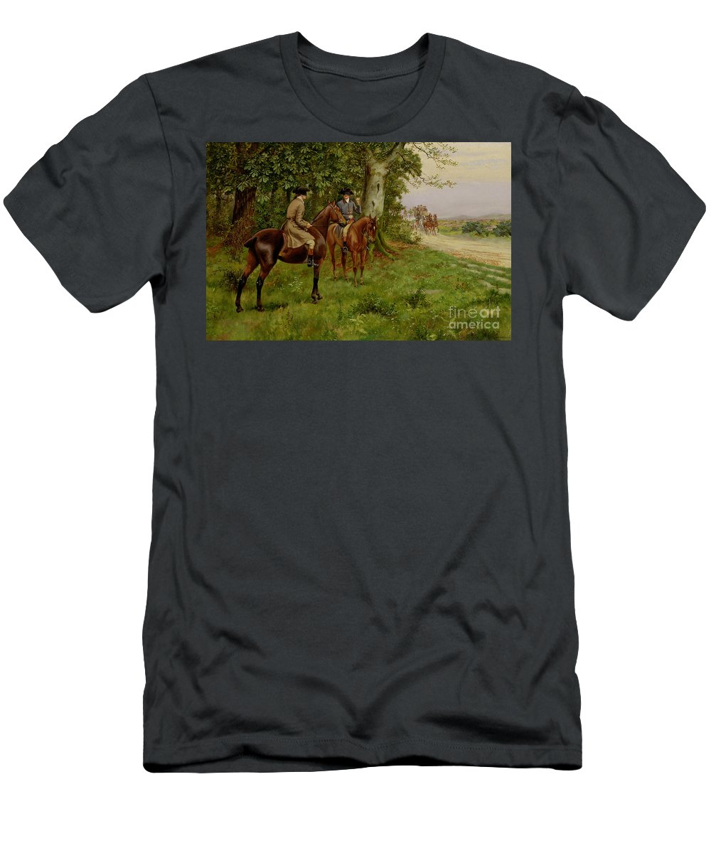 The Highwaymen (oil On Canvas) By George Derville Rowlandson (1861-1930) Men's T-Shirt (Athletic Fit) featuring the painting The Highwaymen by George Derville Rowlandson