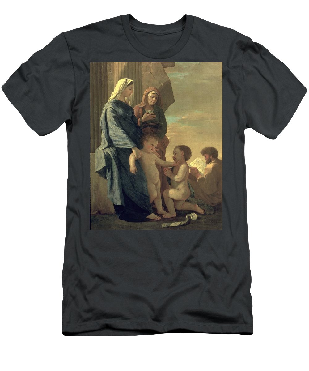 The Holy Family (oil On Canvas) By Nicolas Poussin (1594-1665) Men's T-Shirt (Athletic Fit) featuring the painting The Holy Family by Nicolas Poussin