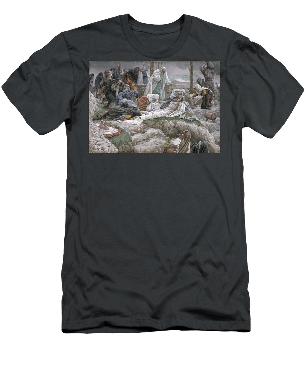 The Men's T-Shirt (Athletic Fit) featuring the painting The Holy Virgin Receives The Body Of Jesus by Tissot