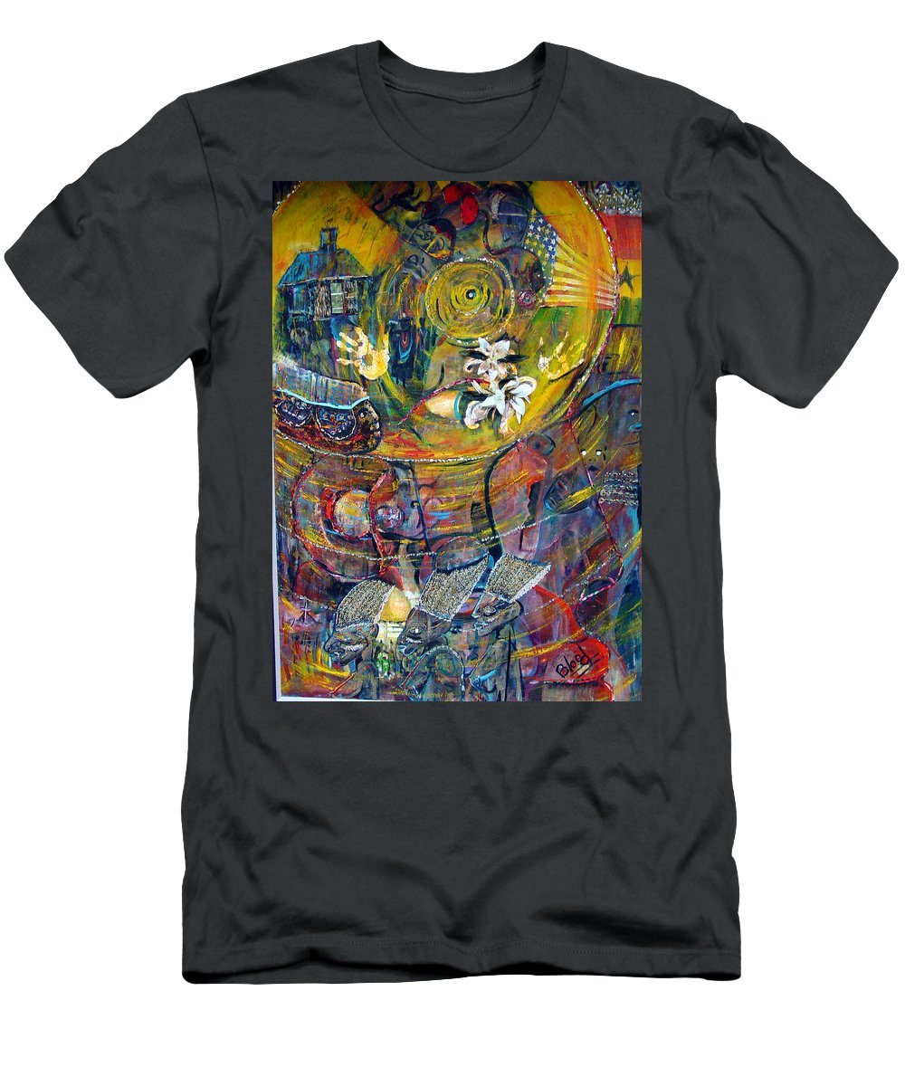 Figures Men's T-Shirt (Athletic Fit) featuring the painting The Journey by Peggy Blood