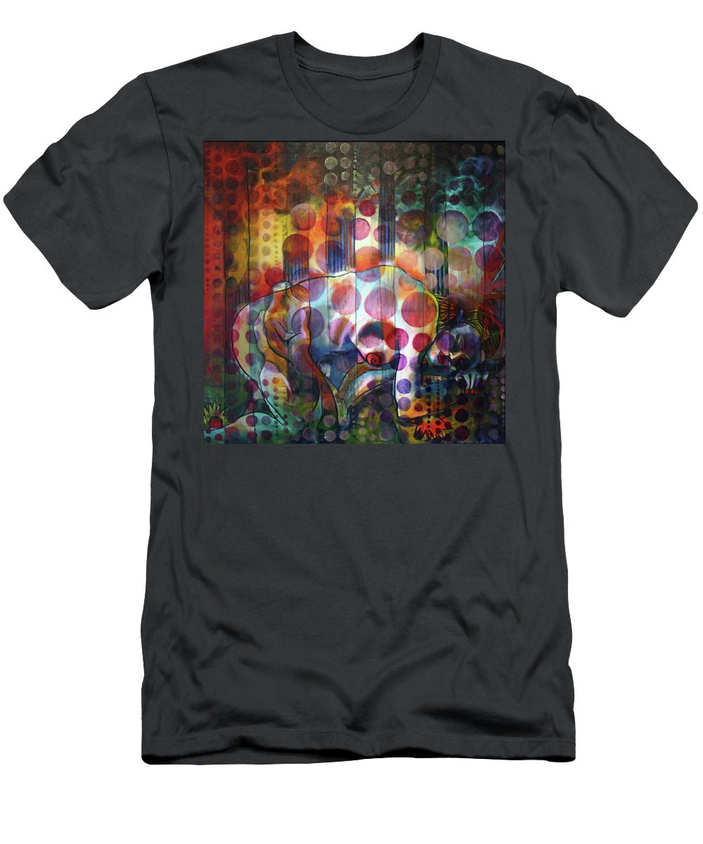 Drawing Men's T-Shirt (Athletic Fit) featuring the painting The Kiss - Woods And Sea by Gideon Cohn