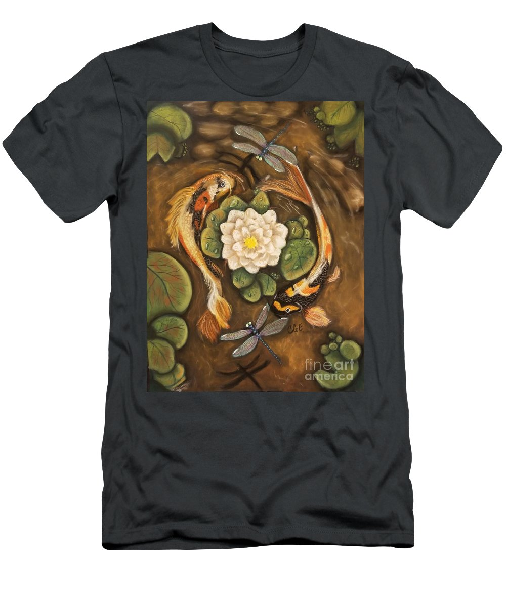 Koi Men's T-Shirt (Athletic Fit) featuring the pastel The Koi by Crystal Elswick